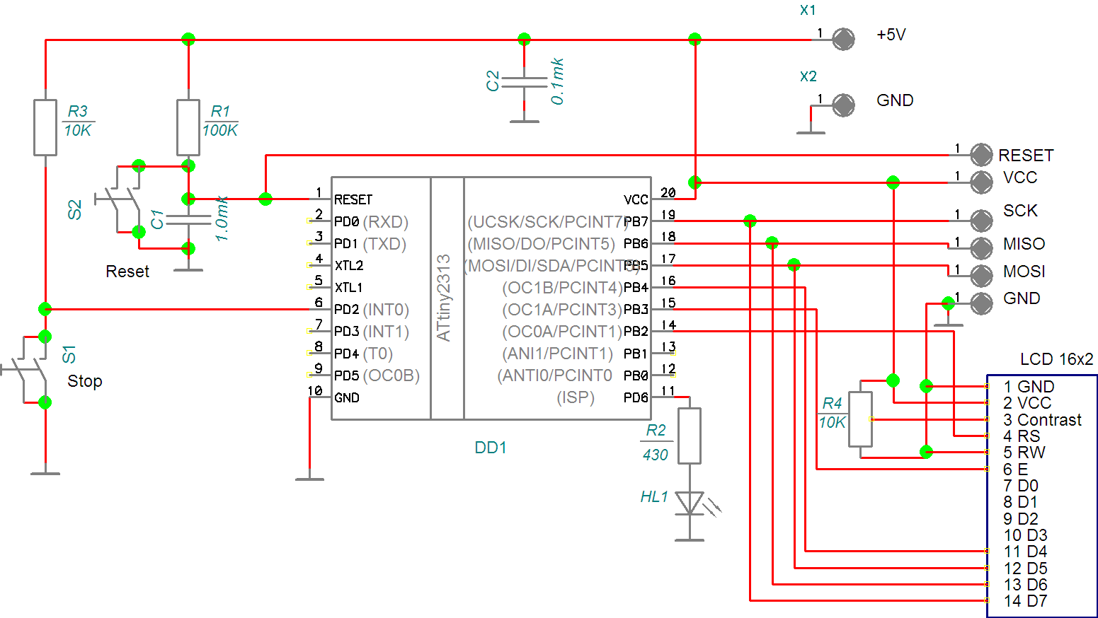 Connection diagram lcd to the microcontroller